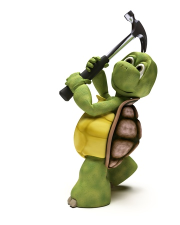 3D render of a Tortoise with a claw hammer photo
