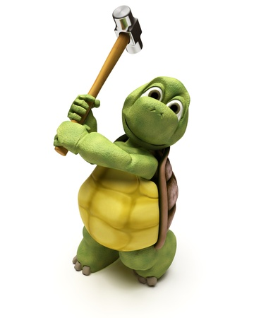3D render of a Tortoise with a sledge hammer photo