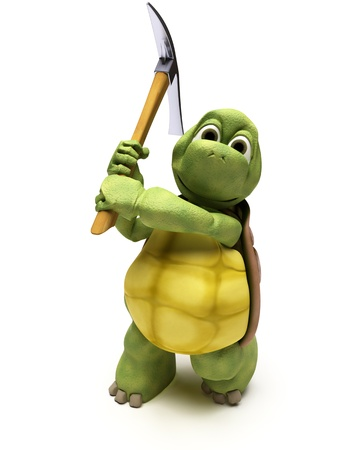 3D render of a Tortoise with pick axe photo