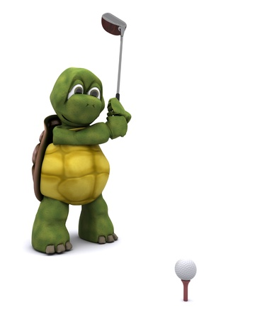 carapace: 3D Render of a Tortoise Playing golf Stock Photo