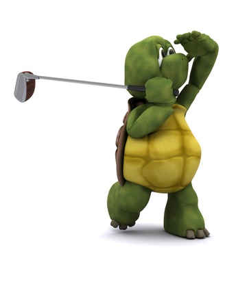 sports shell: 3D Render of a Tortoise Playing golf Stock Photo