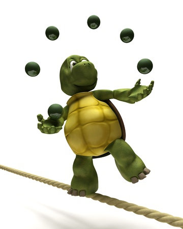 3D Render of Tortoise juggling on a tight rope Stock Photo - 10416406