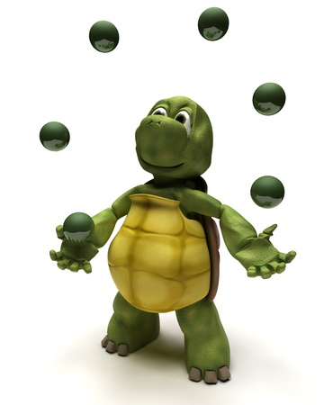 3D render of a Tortoise juggling balls Stock Photo - 10416412