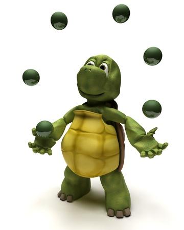 juggling: 3D render of a Tortoise juggling balls Stock Photo