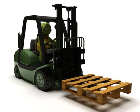 3D render of Tortoise driving a forklift truck photo