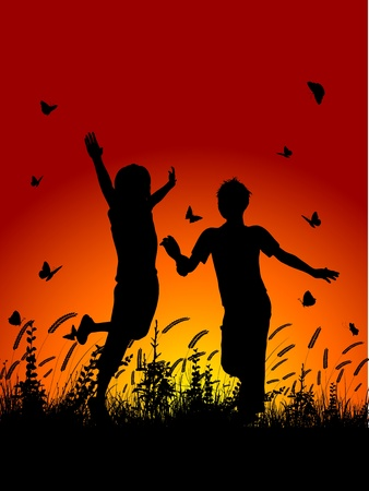 people nature: Silhouettes of children running in grass with butterflies