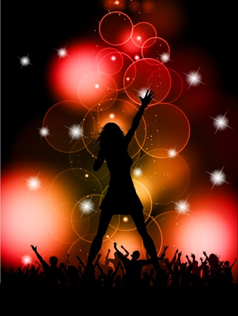 Silhouette of a female singer performing in front of a crowd Vector