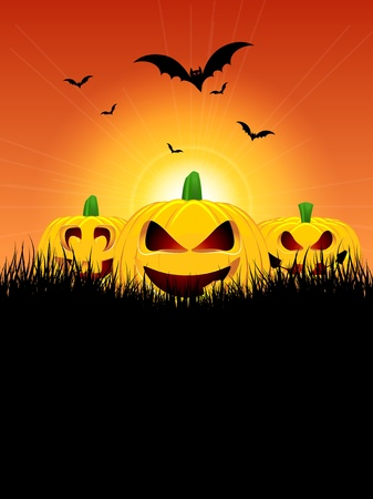 pumkin: Halloween background with pumpkins in grass and bats flying in the sky