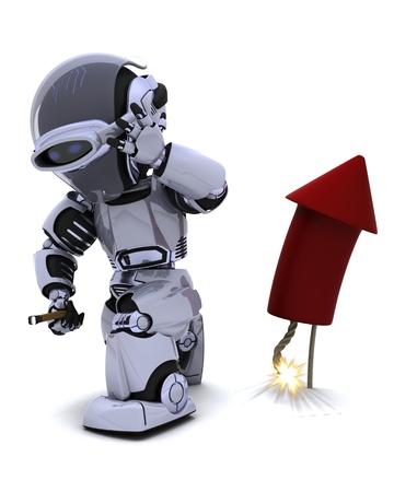 3D Render of a Robot lighting a firework Stock Photo - 10485279