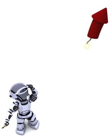 3D Render of a Robot lighting a firework Stock Photo - 10485272