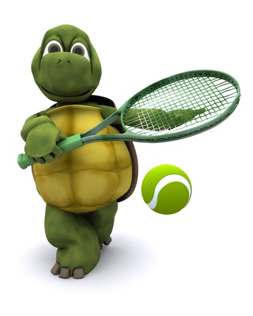 3D render of a  tortoise playing tennis photo