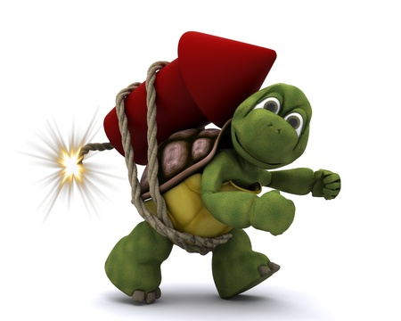 turtle: 3d render of Tortoise lighting a firework