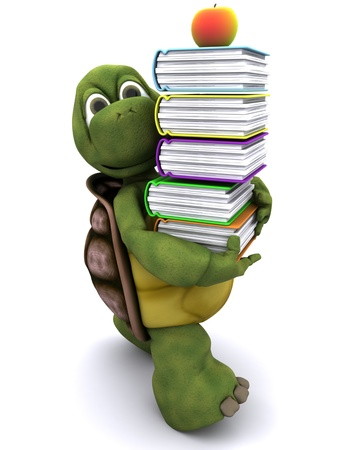 carapace: 3D render of Tortoise with school book and apple