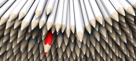 standout: 3D Render of white pencil crayons with standout red pencil Stock Photo