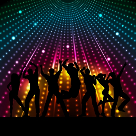 dancing disco: Silhouettes of people dancing on a disco lights background