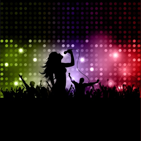 singer silhouette: Silhouette of a female singer performing in front of a crowd