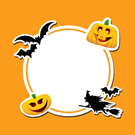 Halloween background with pumpkins, bats and a witch photo