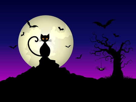 Halloween night background with a cat and spooky tree photo