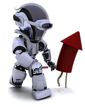 3D Render of a Robot lighting a firework Stock Photo - 10620687