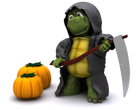 grim: 3D Render of a tortoise dressed as the grim reaper for halloween