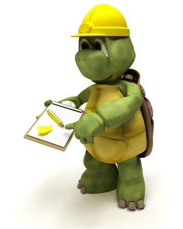 3D render of a tortoise builder receiving a parcel Stock Photo - 10620695