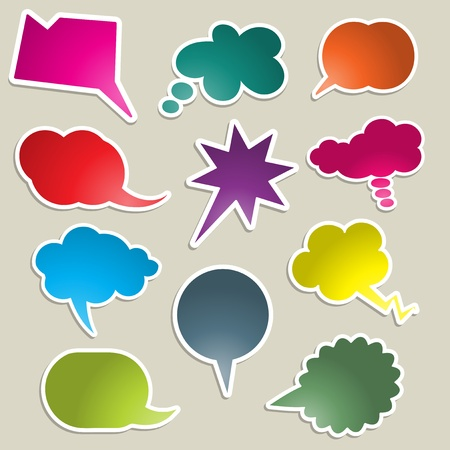 A collection of brightly coloured speech bubbles photo