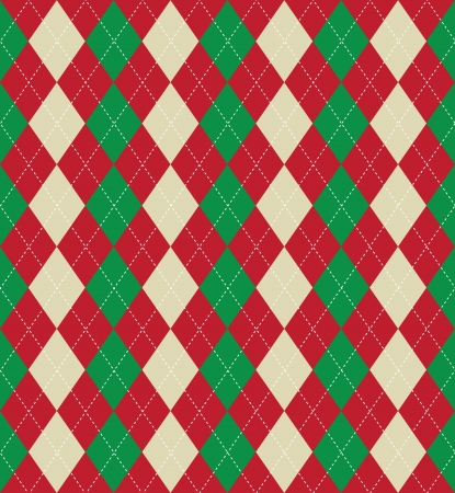 Seamless tiled background of an argyle style pattern using Christmas colours photo