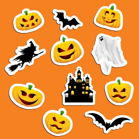 Large collection of Halloween themed stickers photo
