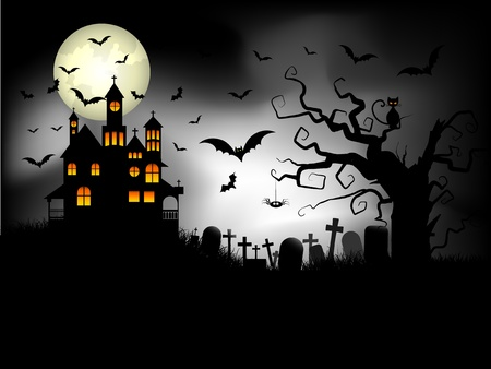 Halloween background with spooky house against a moonlit sky and bats photo