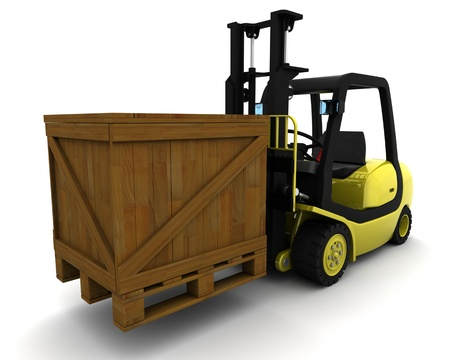 lift truck: 3D Render del cami�n amarillo Levante Tenedor sobre blanco