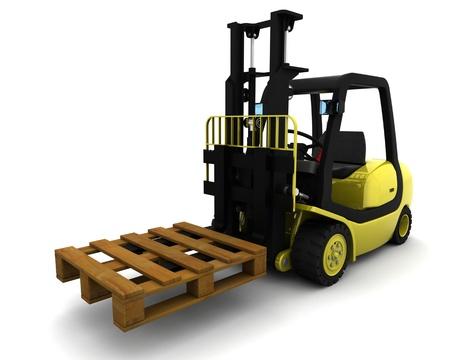 loading truck: 3D Render of Yellow Fork Lift Truck on White Stock Photo