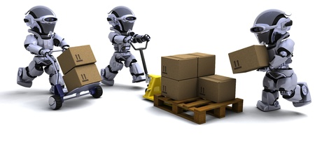 3D render of Robot with Shipping Boxes Stock Photo - 10755285