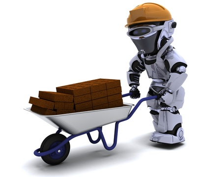 3D render of a robot Builder with a wheel barrow carrying bricks photo