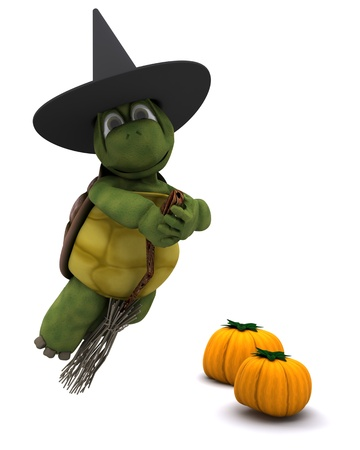 3D Render of a tortoise dressed as a witch for halloween photo