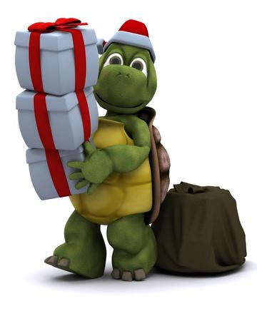 tortuga: Render 3D de un personaje de santa de tortuga