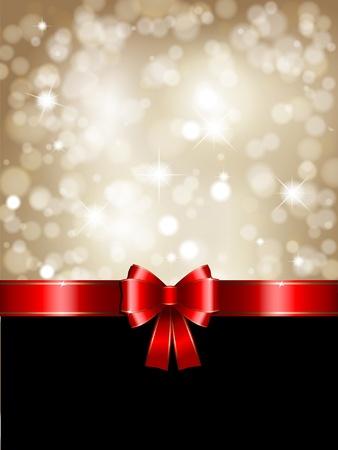 cold background: Design di Natale con un nastro lucido rosso e oro sfondo glittery