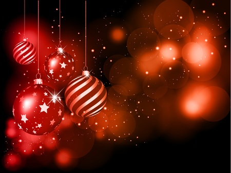 Decorative Christmas background with hanging baubles Stock Photo - 10825318