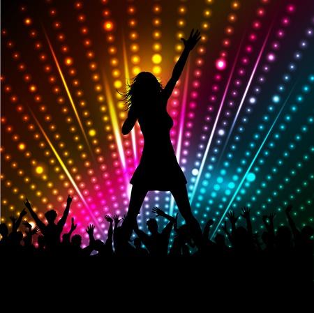 cantando: Silueta de una cantante realizar delante de una multitud Foto de archivo