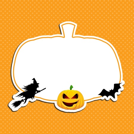 Halloween background with witch, pumpkin and bat photo