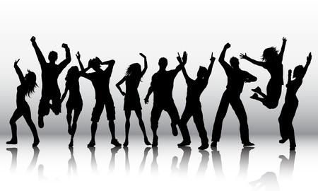 Silhouetten van een groep mensen dansen