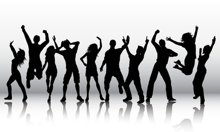 dancing disco: Silhouettes of a group of people dancing