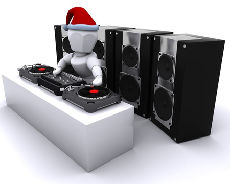 turntables: 3D render of a Christmas DJ mixing records on turntables