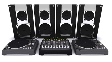 3d render of a DJ mixing desk turntables and speakers Stock Photo - 10939999