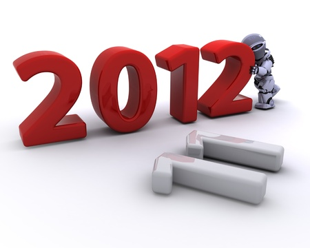 3D render of a Robot Bringing the new year in Stock Photo - 10939977