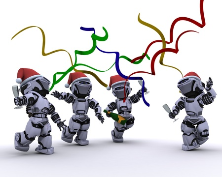 3D render of a Robots celebrating at a christmas party photo