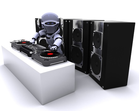 turntables: 3D render of a Robot  DJ mixing records on turntables Stock Photo