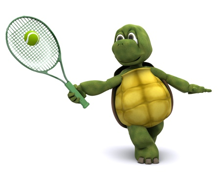 3D render of a  tortoise playing tennis Stock Photo - 10939981
