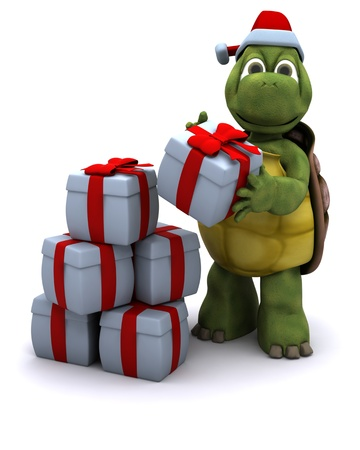 the reptile: 3D render of a tortoise santa character