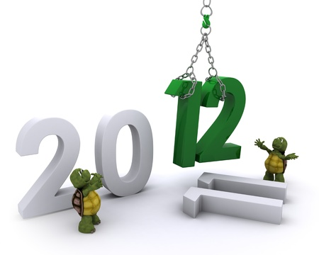 3D render of a Tortoise Bringing the new year in photo