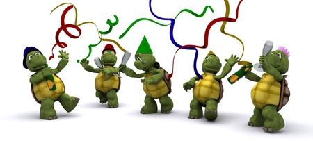 3d render: 3D render of a tortoises celebrating at a party